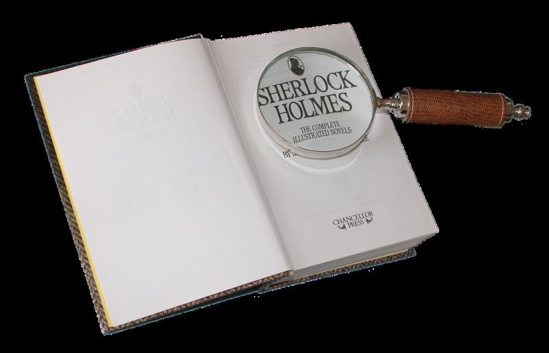 シャーロックホームズの本と虫眼鏡の画像