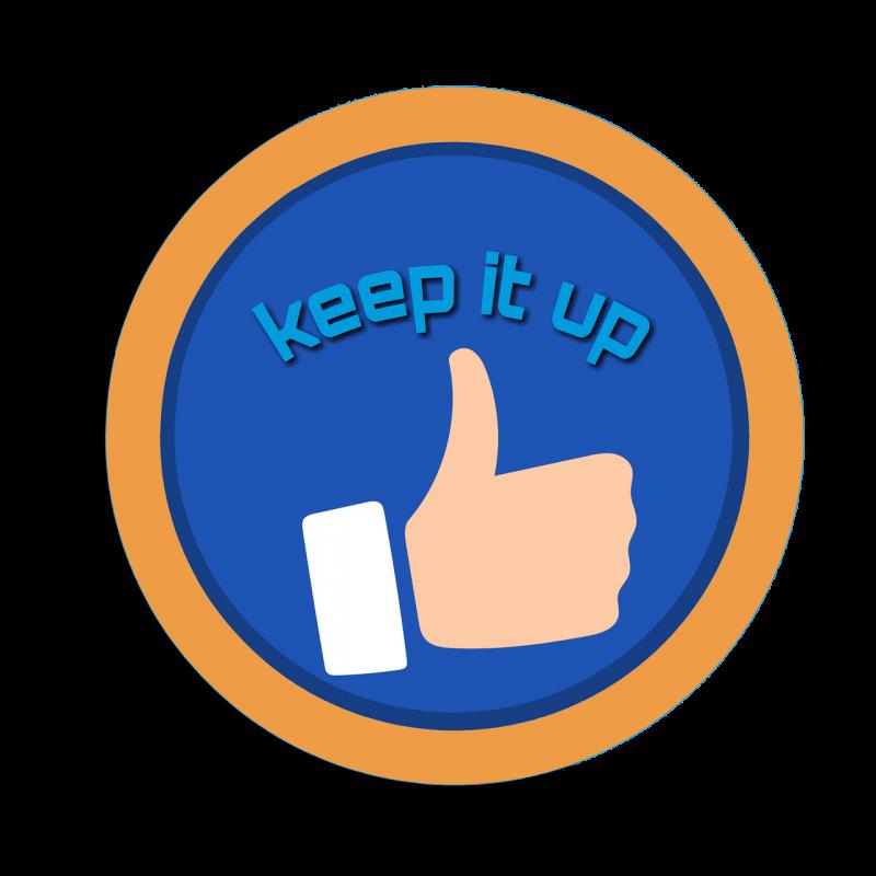 『KEEP IT UP』と書かれたイラスト