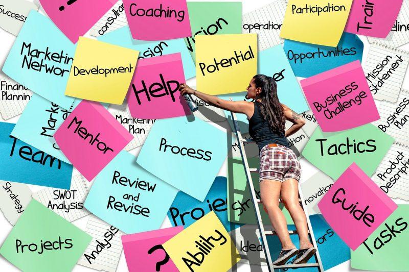 女性がはしごに載って「HELP」と書かれた紙にスプレーしている画像