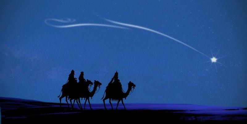 夜の砂漠をラクダに乗って歩く画像