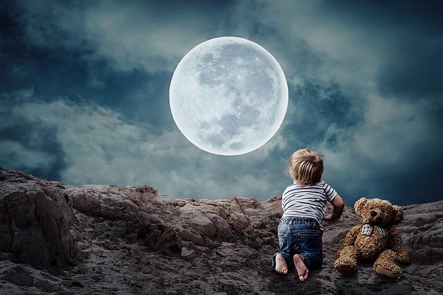 少年の熊のぬいぐるみと満月の画像