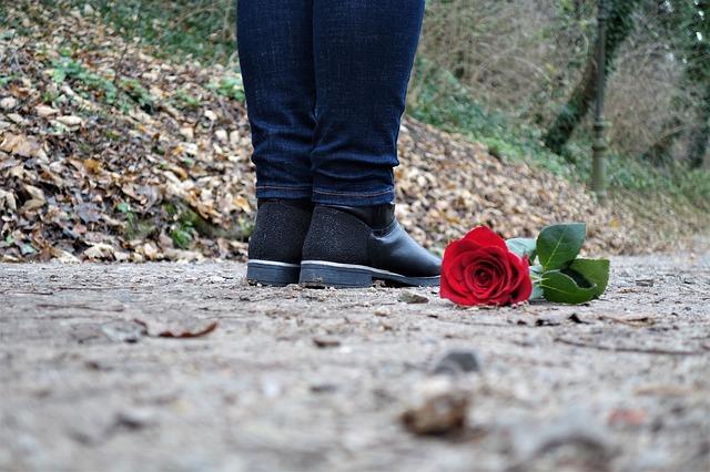道バラに落ちているバラの花と人の足