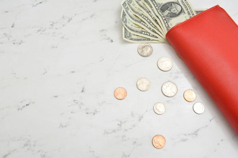 赤い財布からドル札が見えている画像